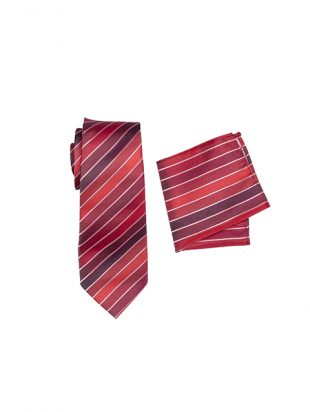 Mens Striped Tie Red