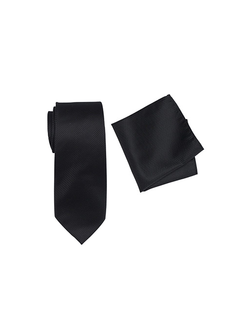Breeze Mens Tie And Pocket Square Set Black