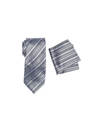 Mens Silver Long Tie And Pocket Hank Set