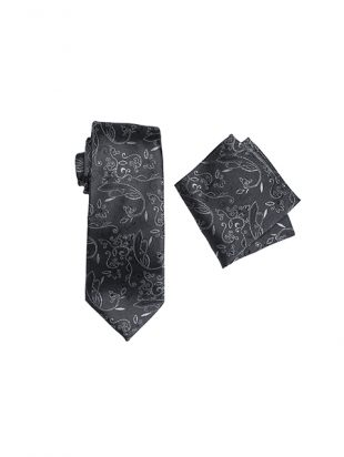 Mens Silk Long Tie And Hank Set Charcoal