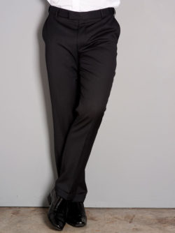 Mens Tailored Fit Flat Front Trouser Black