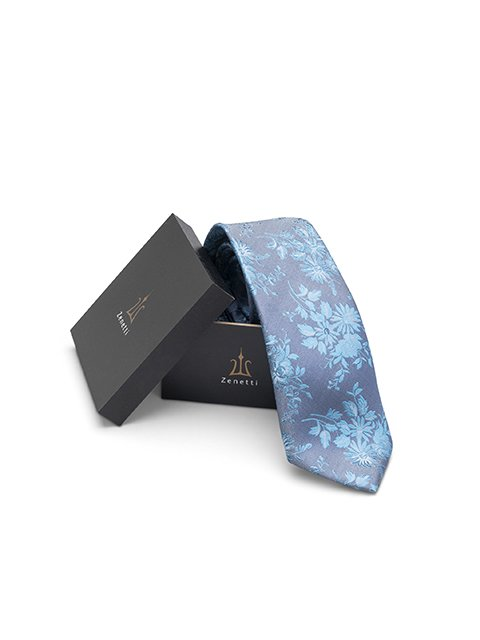 Mens silk long tie & hank set ZTH020 Teal