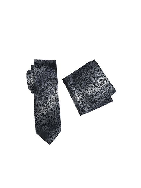 Zenetti silk tie and hank box set Black