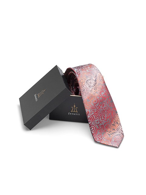 ZTH025 Zenetti silk tie and hank box set Coral