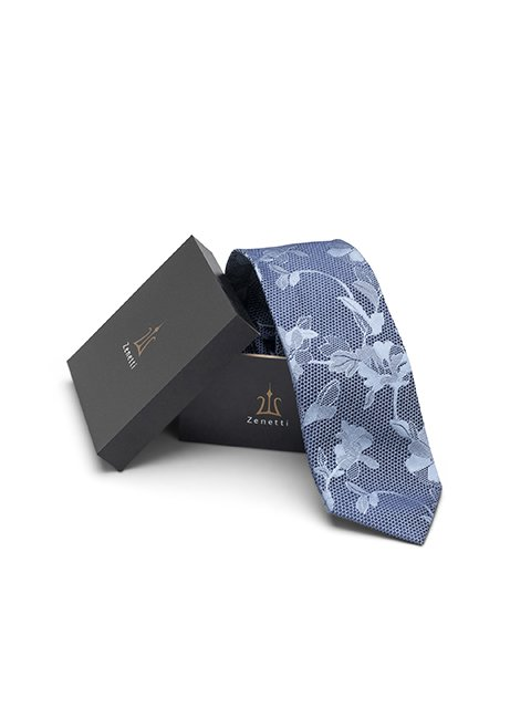 Zenetti silk tie and Pocket Square box set Blue