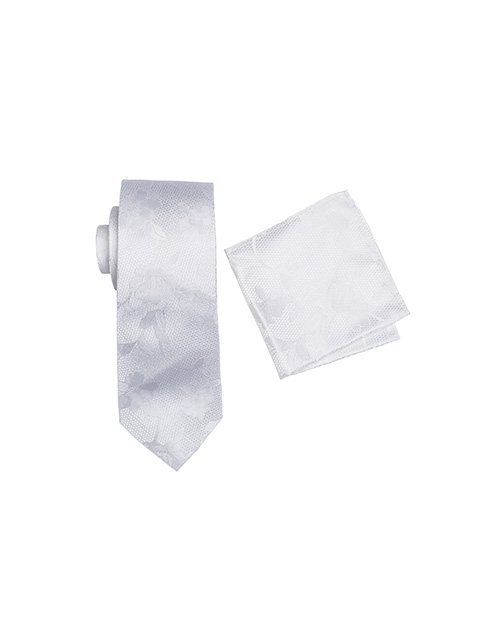 Zenetti silk tie and Pocket Square box set White