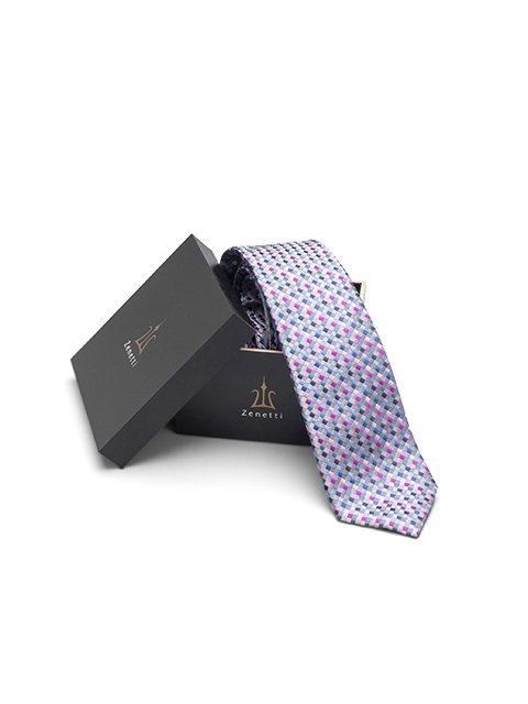 Mens Long Tie and Pocket Square Set Pink