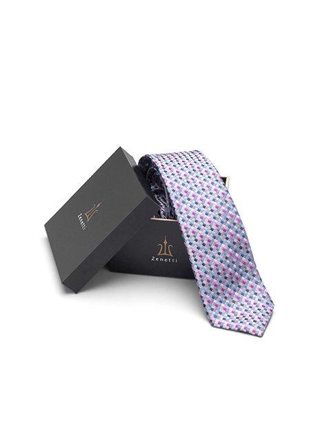 Mens Long Tie and Pocket Square Set Pink