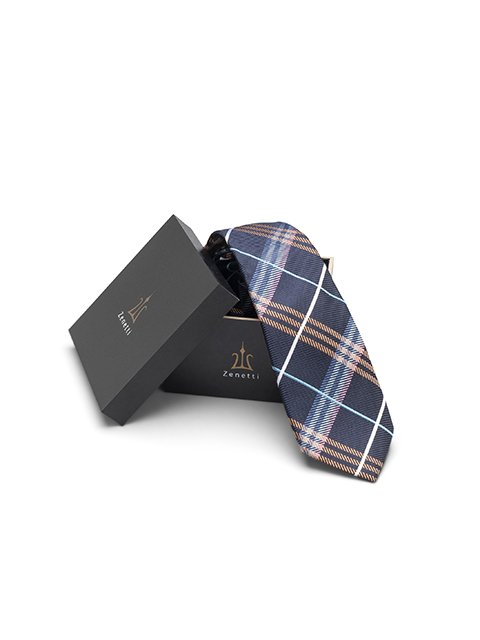 Zenetti silk tie and hank box set navy