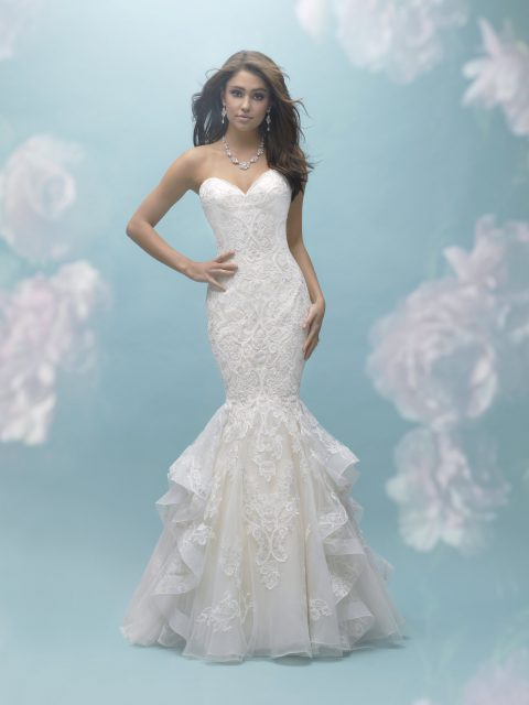 ruffled mermaid gown allure 9456