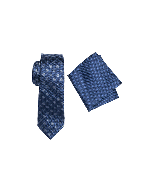 ZTH044 Zenetti silk tie and hank box set Navy