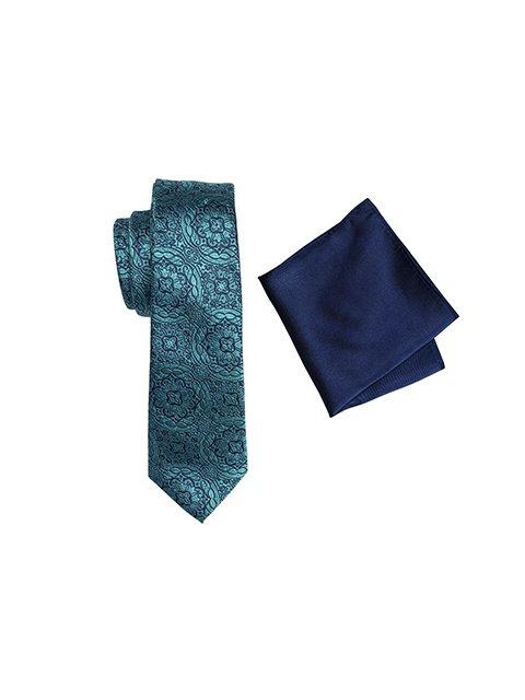 Zenetti silk tie and hank box set Green