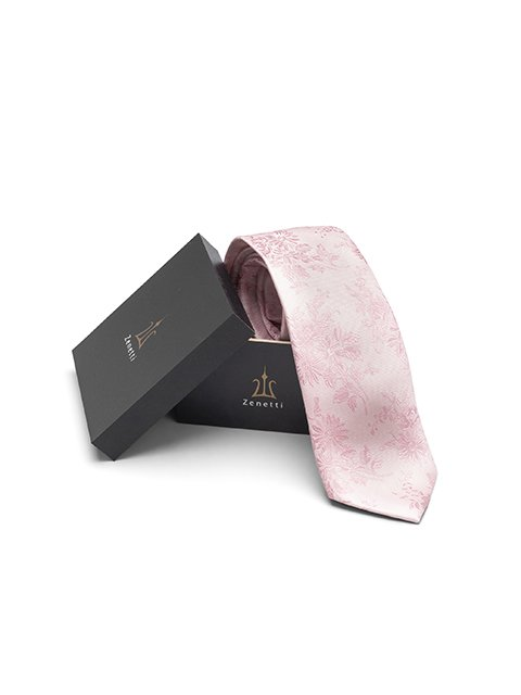 Mens silk long tie & hank set ZTH020 Pink
