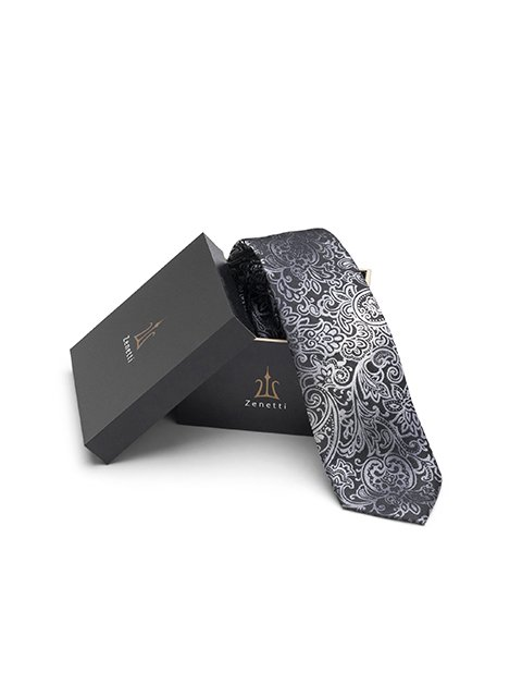ZTH025 Zenetti silk tie and hank box set Black