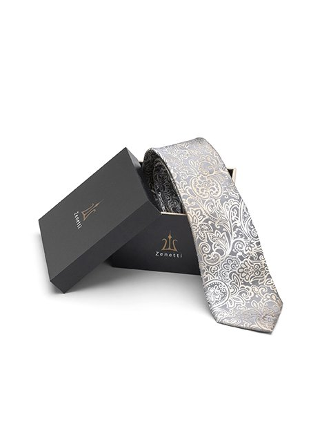 Zenetti silk tie and hank box set Latte