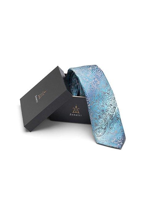 Zenetti silk tie and hank box set Teal