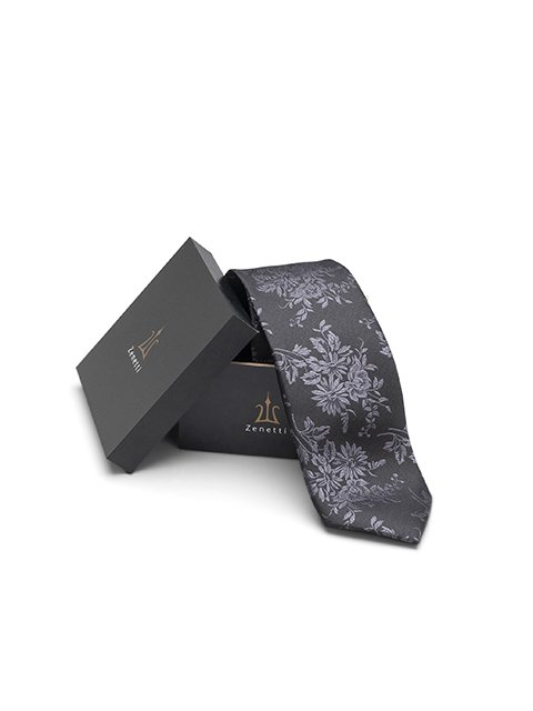 Zenetti silk tie and Pocket Square box set Black