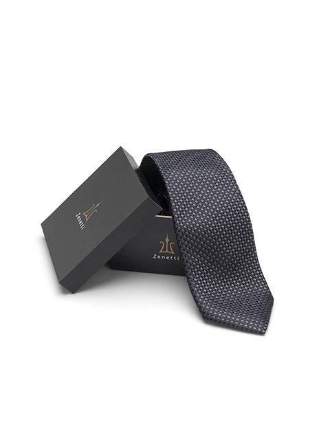 Zenetti silk tie and hank box set Charcoal