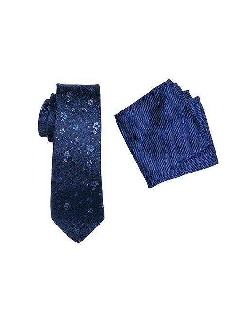 ZTH041 NAVY Tie and Hank Set