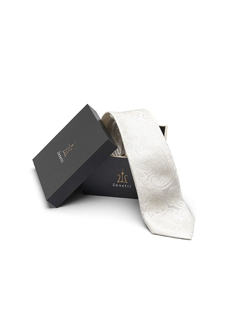 Zenetti silk tie and hank box set Ivory