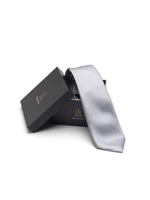 Zenetti silk tie and hank box set Silver