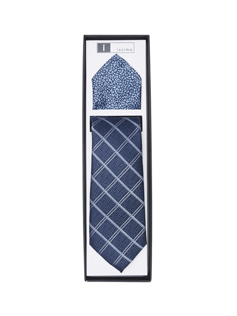 ITH026 Navy Tie and hank set
