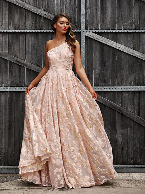 JX3025 Jadore Pink Evening Gown