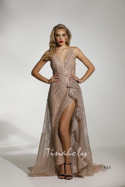 T1844 Tina Holly Rose Gold Evening Gown