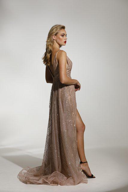 T1844 Tina Holly Rose Gold Evening Dress