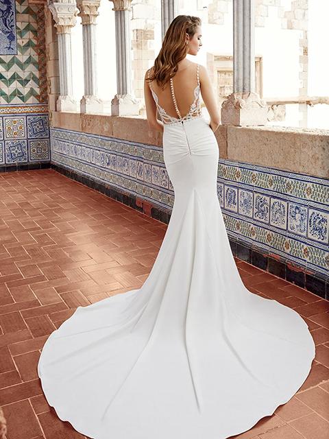 Abella E123 Noa Simple Skirt Sheath Lacework Wedding Dress