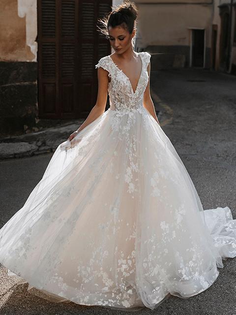 Abella E165 Astrid Lace Sleeve Wedding Dress